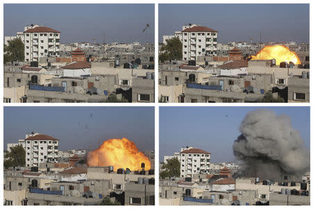 A combination of pictures shows a missile hit the house of Palestinian senior Islamic Jihad leader Nafez Azzam in Rafah in the southern Gaza Strip