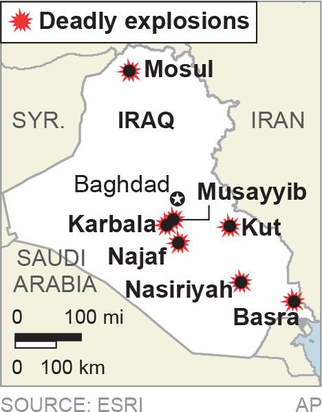 Map locates multiple cities in Iraq that were the site of bombings; 1c x 2 inches; 46.5 mm x 50 mm;