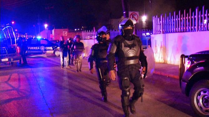 Video grab shows riot police outside a prison in the northern Mexcian city of Monterrey on February 11, 2016