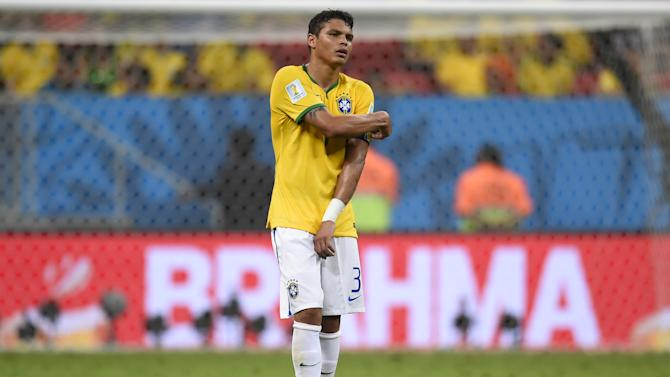 Brazil captain Thiago Silva leaves the pitch at the end of the third place play-off match against the Netherlands during the 2014 FIFA World Cup at the National Stadium in Brasilia on July 12, 2014