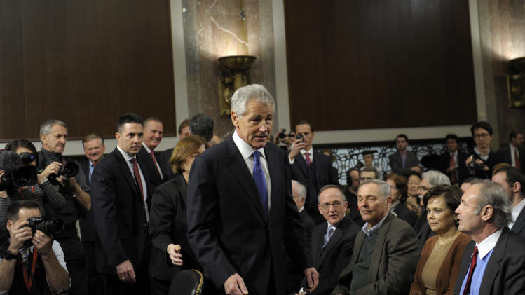 Former Republican Nebraska Sen. Chuck Hagel, President Barack Obama's choice for defense secretary, arrives on Capitol Hill in Washington, Thursday, Jan. 31, 2013, to testify before the Senate Armed Services Committee hearing on his nomination.  (AP Photo/Susan Walsh)