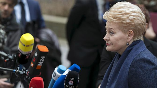 File picture shows Lithuanian President Dalia Grybauskaite arriving at a European Union leaders summit in Brussels