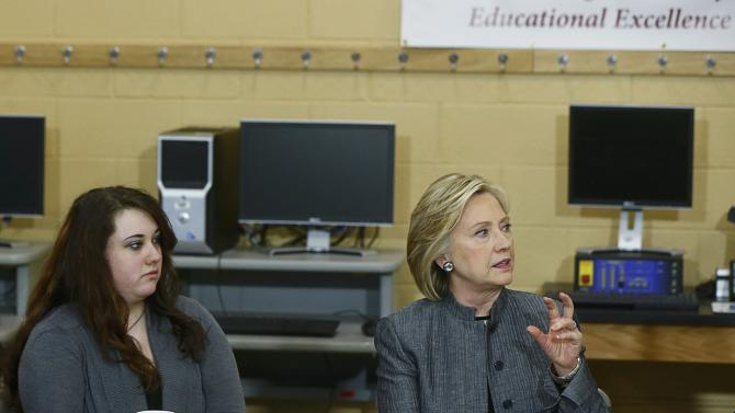 U.S. presidential candidate Clinton participates in a discussion in New Hampshire Technical Institute classroom while campaigning for the 2016 Democratic presidential nomination in Concord