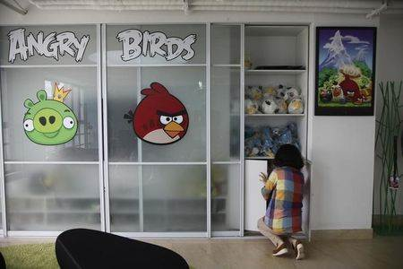 Employee works inside an office of Rovio, the company which created the video game Angry Birds, in Shanghai