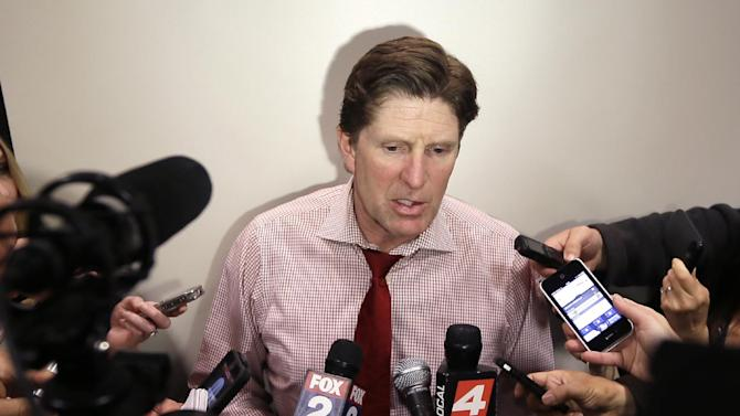 Detroit Red Wings head coach Mike Babcock addresses the media at Joe Louis Arena in Detroit, Tuesday, April 29, 2014. Babcock has one year left on his contract, and signing him to a longer-term deal might be an item on the franchise's list of things to do this offseason