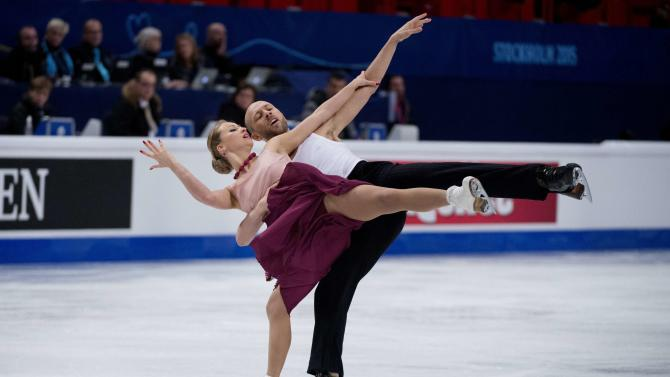 Germany's Zhiganshina and Gazsi perform during the pairs short dance program at the ISU European Figure Skating Championships in Stockholm