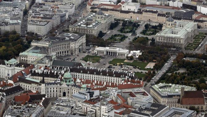 Historical Hofburg palace and Heldenplatz are seen in this aerial photo of Vienna