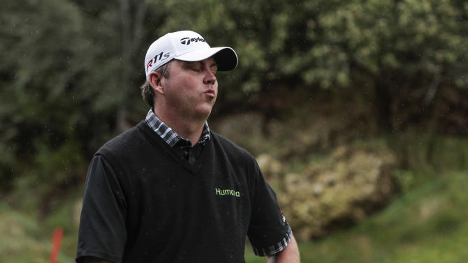 Bo Van Pelt reacts after missing a putt on the 17th hole during the second round of the World Challenge golf tournament at Sherwood Country Club in Thousand Oaks, Calif., Friday, Nov. 30, 2012. (AP Photo/Bret Hartman)