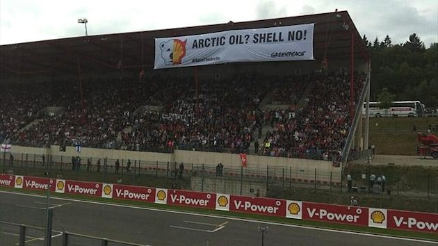 Greenpeace stage a protest against Shell's Arctic drilling programme at the Belgian Grand Prix (@Greenpeace on Twitter)