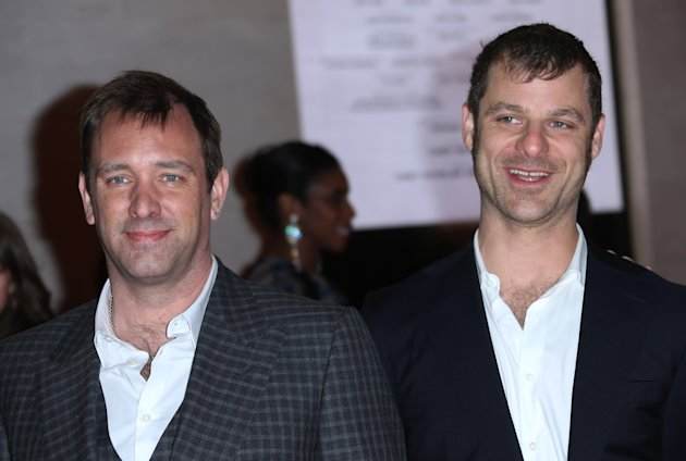 The Book of Mormon creators Trey Parker, left, and Matt Stone pose for photographers on the red carpet as they arrive for the opening night of &#39;The Book of Mormon&#39; at The Prince of Wales theatre in central London, Thursday, March 21, 2013. (Photo by Joel Ryan/Invision/AP)