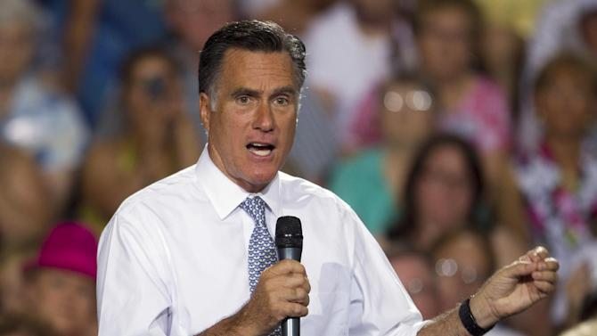 Republican presidential candidate, former Massachusetts Gov. Mitt Romney gestures during a campaign stop on Wednesday, July 18, 2012 in Bowling Green, Ohio.  (AP Photo/Evan Vucci)