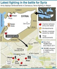 Map locating latest fighting between the army and rebels in Syria. Syria admitted Monday it has chemical weapons and warned of using them if attacked, though not against its own civilians, as regime troops reclaimed most of Damascus after a week of heavy clashes