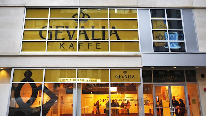 Signs for the Gevalia Pop-Up Store are displayed on 253 West 47th Street, Dec. 27, 2012, in New York. Free Gevalia coffee samples will be offered to New Yorkers and visitors at a temporary Gevalia cafe open from Dec. 26-31. (John Minchillo /AP Images for Gevalia)