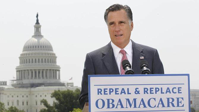 """In this June 28, 2012, photo, Republican presidential candidate Mitt Romney speaks about the Supreme Court ruling on health care in Washington. Romney says he has a plan to help people with pre-existing medical conditions get health insurance. But there's a huge catch: You basically have to be covered in the first place. If you had a significant break in health insurance coverage, an insurer still could delve into your medical history. Common conditions _ from a bad back to high blood pressure _ could lead to denial. Compared to Romney's approach, President Barack Obama's health care law guarantees that people in poor health can get coverage at the same rates everybody else pays, and it provides financial help for low- to middle-income households. The law says that, starting Jan. 1, 2014, an insurer """"may not impose any pre-existing condition exclusion. (AP Photo/Charles Dharapak)"""