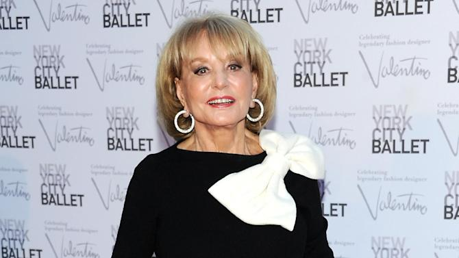 """FILE - This Sept. 20, 2012 file photo shows Barbara Walters, host of the ABC daytime talk show """"The View,"""" arriving at the New York City Ballet Fall Gala honoring fashion designer Valentino Garavani at Lincoln Center in New York. Walters says the paparazzi were lying in wait, but she's not saying anything about her future employment. Walters returned to """"The View"""" on Monday, after reports circulated widely the previous Friday that she would be retiring from television in May 2014. The television news legend is 83 years old. She said photographers were waiting for her as she went to work on Monday, expecting she would discuss her future plans on the air. Instead, Walters had nothing to say about whether or not the stories were true, saying """"I have no announcement to make."""" Walters created """"The View"""" in 1997.  (Photo by Evan Agostini/Invision/AP, file)"""