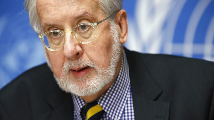 Chief investigator Pinheiro, a member of Independent International Commission of Inquiry on Syrian Arab Republic, attends news conference at United Nations headquarters in Geneva