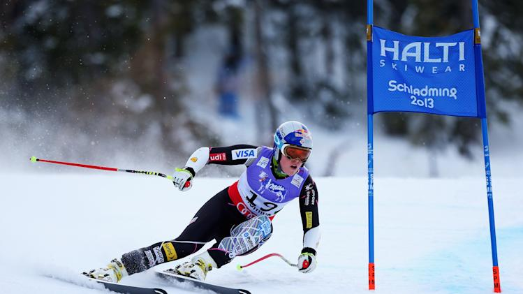 Lindsey Vonn skis before crashing at the super-G competition.