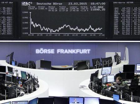 Global shares advance at end of down week, oil prices retreat