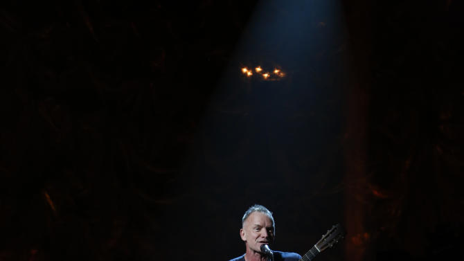 "In this photo provided by NBC, Sting performs during ""Hurricane Sandy: Coming Together"" Friday, Nov. 2, 2012, in New York. Hosted by Matt Lauer, the event is heavy on stars identified with New Jersey and the New York metropolitan area, which took the brunt of this week's deadly storm. (AP Photo/NBC, Heidi Gutman)"