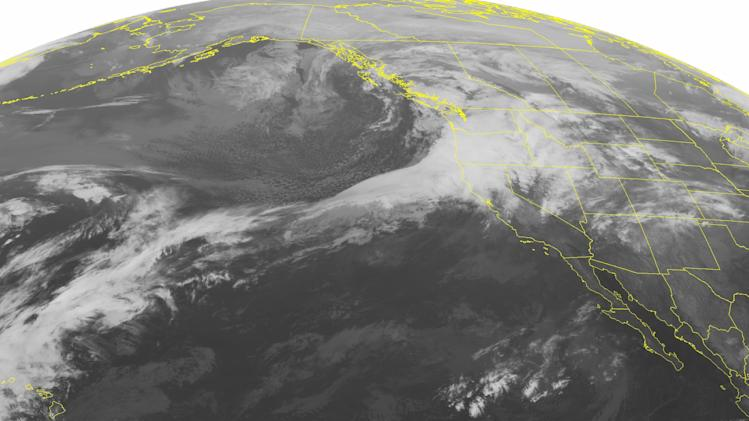 This NOAA satellite image taken Sunday, Dec, 02, 2012 at 01:00 AM EST shows yet another storm moving into the Pacific Northwest and northern California bringing heavy rain, mountain snow and high winds. As this frontal system pushes inland it will bring similar conditions to the Intermountain West and Northern Rockies.(AP PHOTO/WEATHER UNDERGROUND)