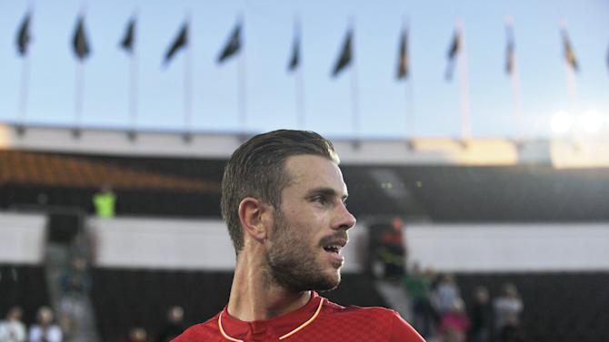 Liverpool's Jordan Henderson is pictured after a pre-season friendly soccer match against HJK Helsinki in Helsinki, Finland
