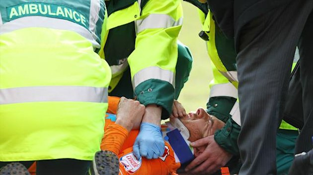 Barry Ferguson left Bloomfield Road on a stretcher on Saturday