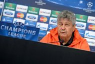 Shakhtar Donetsk's coach Mircea Lucescu listens during a press conference on the eve of the Champions League match against Juventus in Turin