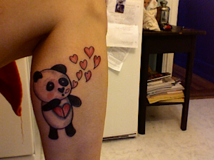 panda heart tattoo