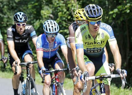Tinkoff-Saxo team rider Rogers of Australia leads a breakaway group of riders to win the 237.5km 16th stage of the Tour de France cycling race between Carcassonne and Bagneres-de-Luchon