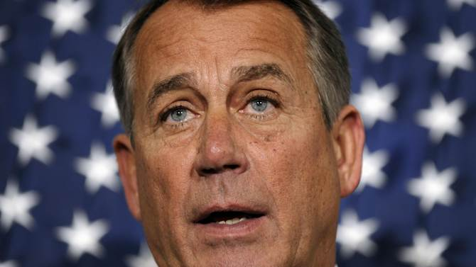 House Speaker John Boehner of Ohio speaks during a new conference following a meeting at the Republican National Committee offices on Capitol Hill in Washington, Wednesday, Oct. 23, 2013. (AP Photo/Susan Walsh)
