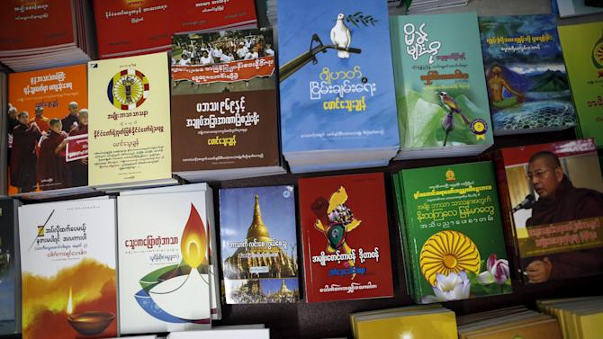 Books promoting nationalism published by Ma Ba Tha are seen at a bookshop at Ma Ba Tha's head office in Yangon