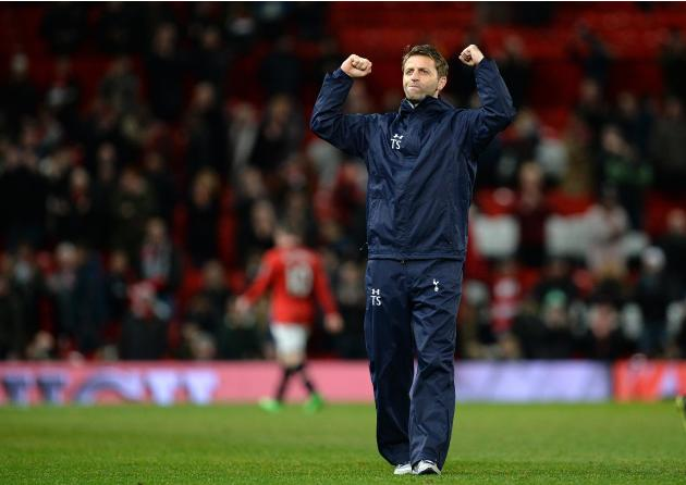 Tottenham Hotspur's manager Sherwood reacts after their English Premier League soccer match against Manchester United at Old Trafford