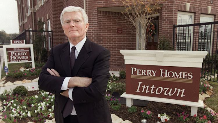 FILE - This is a Dec. 10, 2002 file photo of Houston homebuilder Bob Perry, posing at the sales center at one of his Houston developments. Perry died Saturday night April 14, 2013 Former Texas state Rep. Neal Jones, a close family friend, said late Sunday. He was 80.  (AP Photo/Houston Chronicle, Melissa Phillip, File)