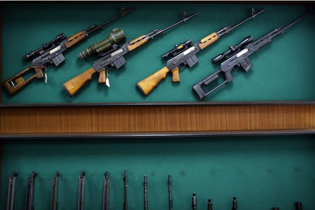 "Rifles are displayed in the exhibition hall of the ""Zastava Arms"" weapons factory in the Serbian town of Kragujevac"