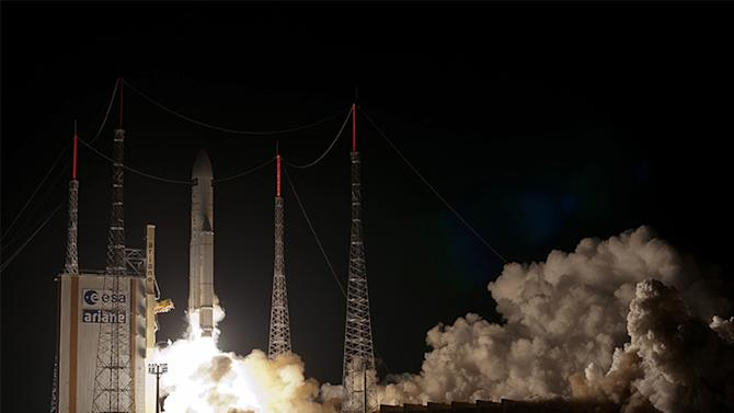 Picture taken and released on July 29, 2014 by the European Space Agency (ESA) shows an Ariane 5 ES heavy rocket carrying the Automated Transfer Vehicle ATV-5 Georges Lemaitre lifting off from the launch pad at the ESA base in Kourou, French Guiana