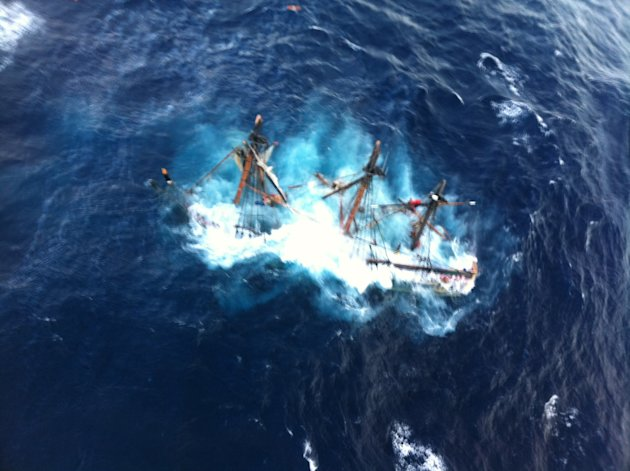 This photo provided by the U.S. Coast Guard shows the HMS Bounty, a 180-foot sailboat, submerged in the Atlantic Ocean during Hurricane Sandy approximately 90 miles southeast of Hatteras, N.C., Monday