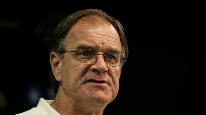 FILE - In an Oct. 17,  2006 file photo, Baltimore Ravens head coach Brian Billick speaks during a news conference in Owings Mills, Md.  The Philadelphia Eagles have interviewed former Ravens coach and current Fox analyst Brian Billick for their coaching vacancy, a person familiar with the meeting told The Associated Press on Sunday, Jan. 13, 2013. (AP Photo/Chris Gardner, File)