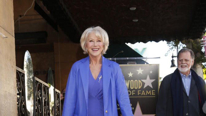 Actress Helen Mirren, unveils her star on the Hollywood walk of Fame January 3, 2013 in Hollywood, California.  (Photo by Todd Williamson/Invision for Fox Searchlight/AP Images)