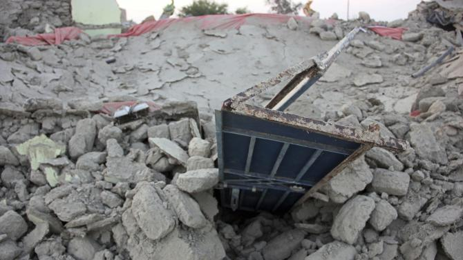 The rubble of a house is seen after it collapsed following the quake in the town of Awaran