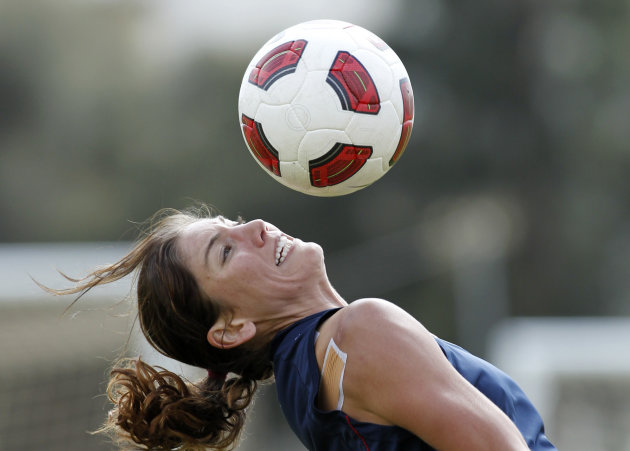 Goalkeeper Hope Solo of the US women's soccer team controls a ball during a training session Thursday, March 3, 2011, in Albufeira, Portugal. Solo, recovering from shoulder surgery, hasn't bee