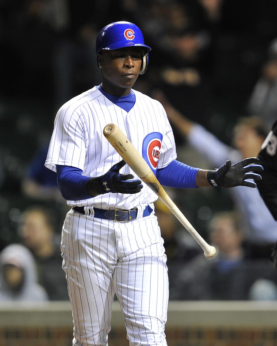 Chicago Cubs' Alfonso Soriano reacts after striking out against the Pittsburgh Pirates during the seventh inning of a baseball game Tuesday, Sept. 18, 2012, in Chicago. (AP Photo/Jim Prisching)