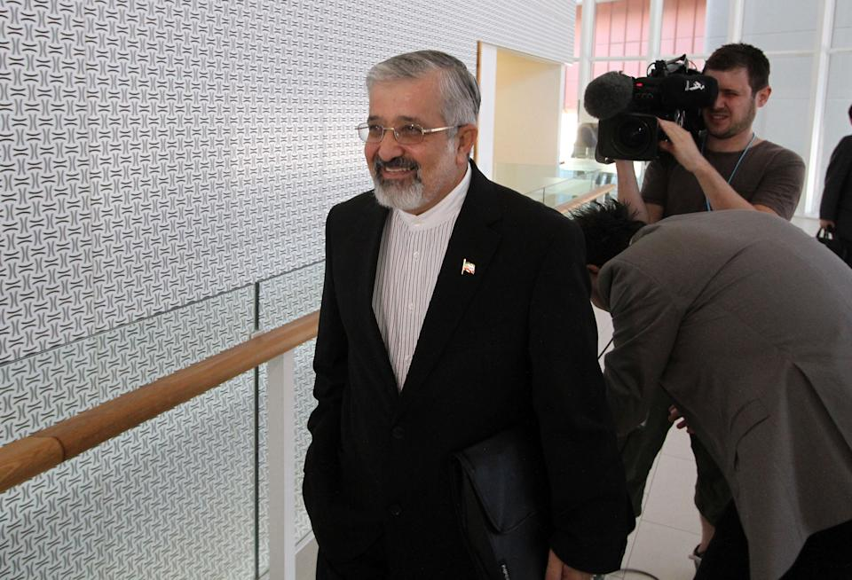 Iran's Ambassador to the International Atomic Energy Agency, IAEA, Ali Asghar Soltanieh arrives for the IAEA board of governors meeting at the International Center in Vienna, Austria, Monday, Sept. 10, 2012. (AP Photo/Ronald Zak)