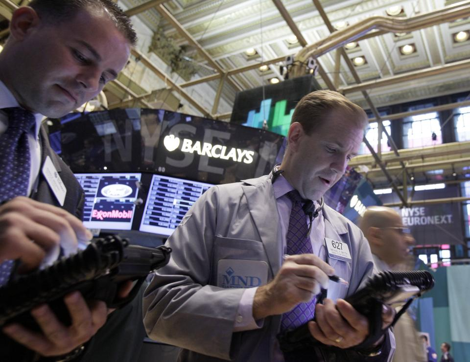Traders work on the floor of the New York Stock Exchange Friday, Sept. 7, 2012. Stocks are opening mixed on Wall Street following news that the U.S. economy added fewer jobs than expected in August. (AP Photo/Richard Drew)