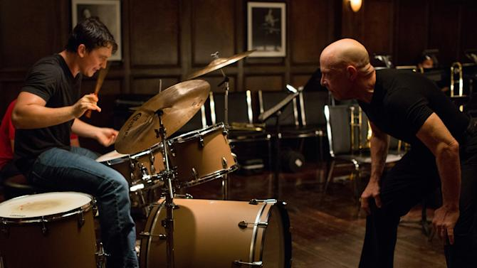 "This image released by Sony Pictures Classics shows Miles Teller, left, and J.K. Simmons in a scene from ""Whiplash."" (AP Photo/Sony Pictures Classics, Daniel McFadden)"