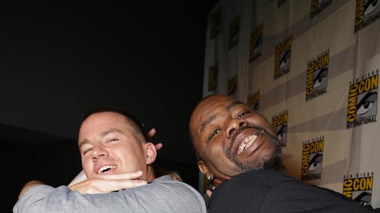 Channing Tatum and Biz Markie seen at Twentieth Century Fox Panel at 2014 Comic-Con on Friday, July 25, 2014, in San Diego, Calif. (Photo by Eric Charbonneau/Invision for Twentieth Century Fox/AP Images)