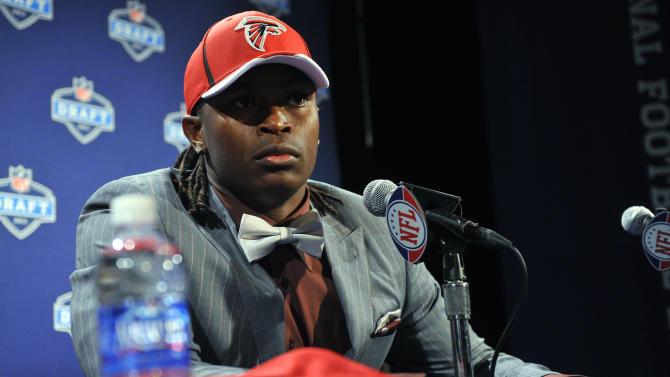 Alabama wide receiver Julio Jones responds to questions during a news conference after he was selected as the sixth overall pick by the Atlanta Falcons in the first round of the NFL football draft at Radio City Music Hall on Thursday, April 28, 2011, in New York. (AP Photo/Stephen Chernin)