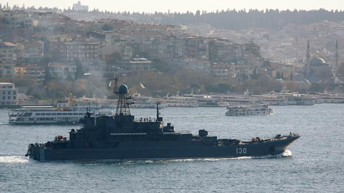 The Russian Navy's large landing ship Korolev sails in the Bosphorus, on its way to the Mediterranean Sea, in Istanbul
