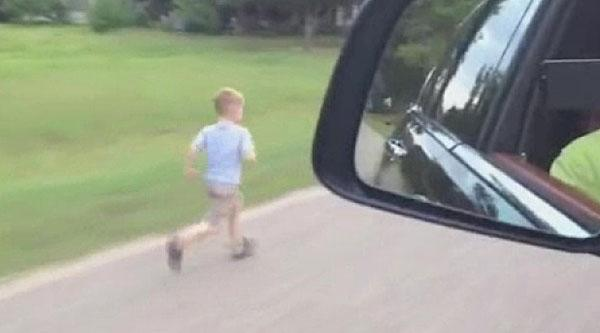 RAW VIDEO: Dad forces 4-year-old to run beside car for 'football' training