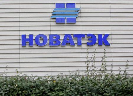A company logo is seen at the sales office of Novatek, Russia's largest independent natural gas producer, in Moscow