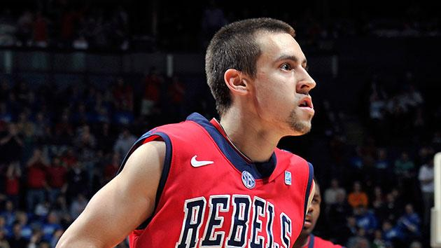 Marshall Henderson celebrates after making a shot in Mississippi's win over Wisconsin. (Getty)